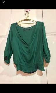 Preloved Zara Emerald Green Boho-ish Top