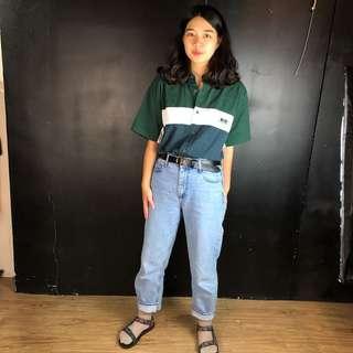 🚚 古著綠+白色色塊拼接短袖挺版襯衫
