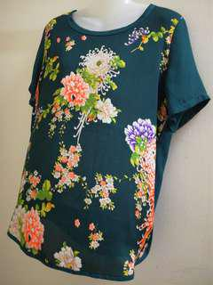Dolly Floral Blouse (Teal)