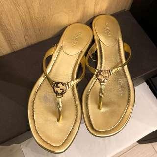 二手 Gucci 金色 夾角拖 拖鞋 海灘鞋 logo 34.5