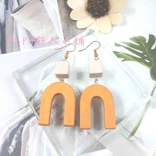 《PoPo飾品》耳環 手作款*拼色方塊磁鐵#可改耳針/耳夾