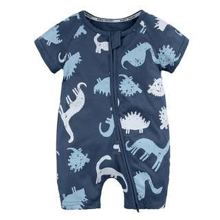 Hipster Dark Blue Baby Newborn Romper/Onesie with Faded Dino Print