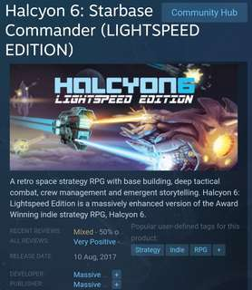 [Clearance Sale] Steam - Halcyon 6: Starbase Commander (Lightspeed Edition)