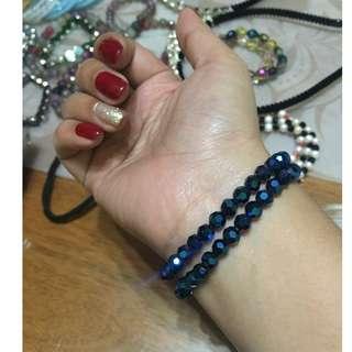 Blue Faceted Beads Bracelet (not glass)