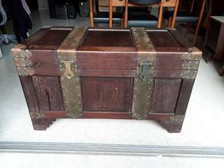 large heavy vintage antique camphor chest w brass dragon carvings