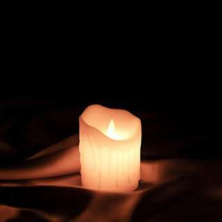 44.ETRONIC Real Wax 3D Dancing Flame Tear Wave Shaped Flickering Flameless Battery Powered LED Pillar Dripless Motion Candle
