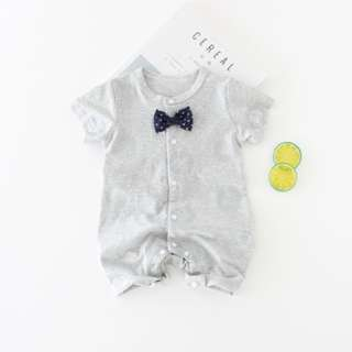 Grey Printed Baby Newborn Romper/Onesie with Bowtie