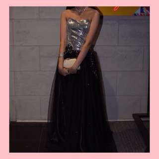 SEQUIN BLACK PROM GOWN