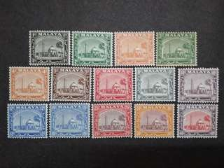 Malaya 1935 Mosque Selangor Loose Set Short Of 50c, $1, $2 & $5 - 14v Mint Stamps