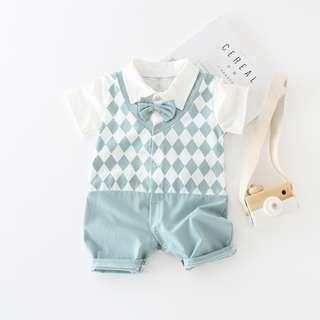 Seagreen Checkered Baby Newborn Romper/Onesie With Bowtie
