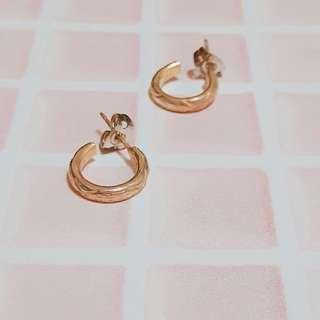 🚚 復古金色花紋耳環/耳釘