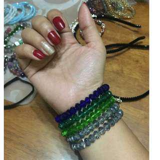 Crystal Bicones Beaded Bracelet (not glass)