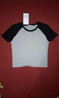 Zara Raglan Tee / T-Shirts (Kaos Raglan Zara) Abu - Hitam