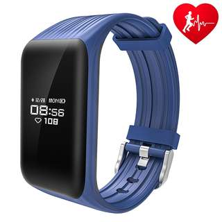 45.Dawo Fitness Tracker Watch IP68 Waterproof Activity Wireless Smart Bracelet with Continuous Heart Rate Monitor Step Calorie Sleep Counter Bluetooth Wristband Pedometer Sports Smart Band(Blue)