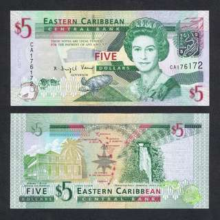 2008 EAST CARIBBEAN STATES 5 DOLLARS P-47 UNC