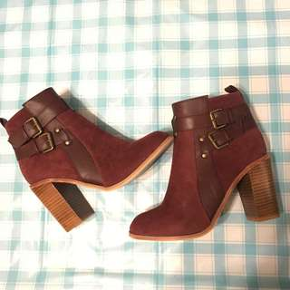 COTTON ON Burgundy Ankle Boots Faux Leather EU38