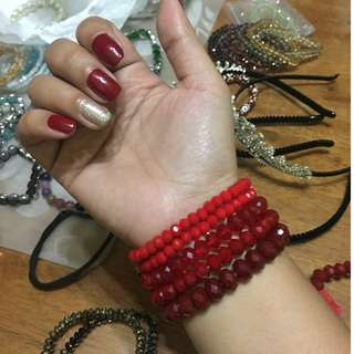 Red Faceted Beads Bracelet (not glass)