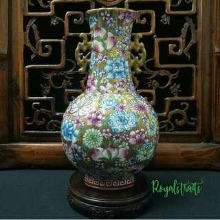 Chinese Famille Rose Mille Fleurs Gilt Vase