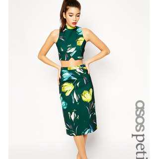 ASOS PETITE Exclusive Co-ord Pencil Skirt in Tulip Print - Multi / UK 10