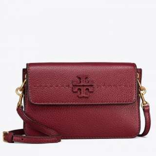 Authentic Tory Burch Mcgraw Crossbody Bag in Imperial Garnet
