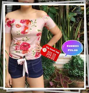 Salmon floral tie front top