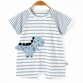 Striped Dino Baby Newborn Romper/Onesie