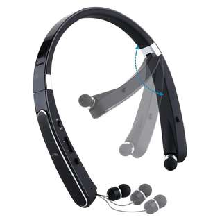 46.Mee'sport Foldable Bluetooth headset,Neckband Bluetooth Headphones with Retractable Earbuds Earpiece Invisible V4.1 Wireless Stereo Noise Cancelling Earphones for iPhone Android Other Devices Black