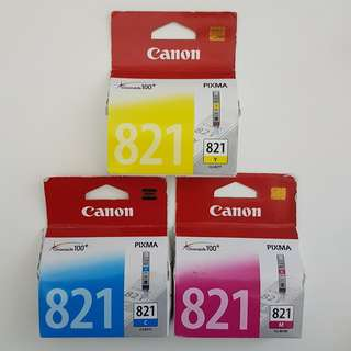 BNIB Canon CLI-821 Authentic Printer Ink Cartridges – Cyan/Magenta/Yellow