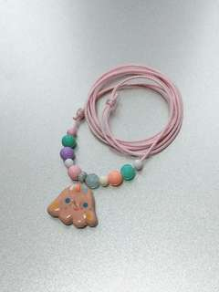 Handmade - Smiling Cone Ceramics Necklace 陶瓷 白花精靈 項鍊 頸鍊