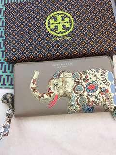 Original Tory Burch elephant Zip Continental Wallet