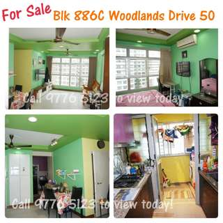 Newly MOP! 5 years HDB!Blk 886C Woodlands Dr 50 - 3 room premium apartment