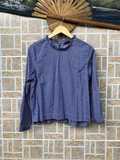 FOR ME Ruffle Pinstripe Top