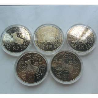 5x 1994 Singapore Lunar Year of the Dog Unc $10 Coin