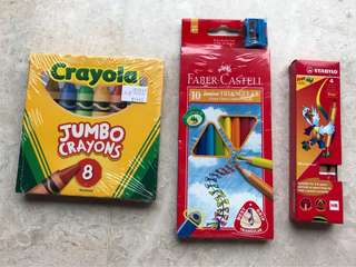 🚚 Crayons, colour pencils and pencils for pre-schoolers