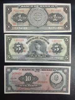 Mexico 1 5 10 20 50 pesos 5 pieces set 1953,1961 and 1972 series