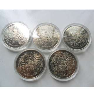 5x 1993 Singapore Lunar Year of the Rooster $10 Coin