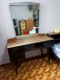 (3 pcs to clear at $350) Vintage teak dressing table etc & huali wood