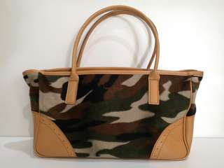 Army and Faux Leather Handbag