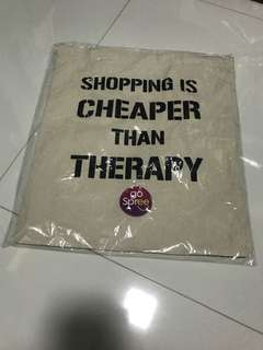 Shopping is better than therapy white tote bag