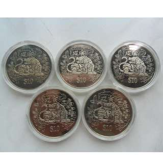 5x 1998 Singapore Lunar Year of the Tiger $10 Coin