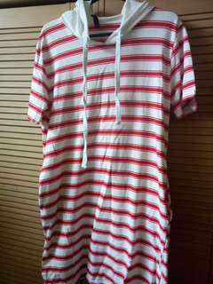 White and Red Stripes Dress with Hoodie