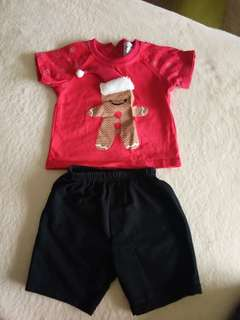 Xmas tshirt shorts set 6-12 M