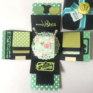 Happy birthday explsion Box card in green and black color