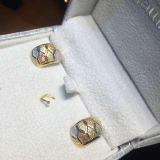 Repriced! LP! 18K 3Tone Real Saudi Gold Earrings