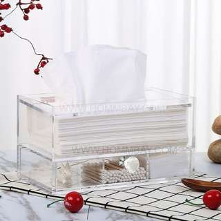Makeup Make up Tissue Box Organizer Clear Acrylic Transparent Cosmetic Jewellery Jewelry Organiser Organizer Drawer Storage Box Holder