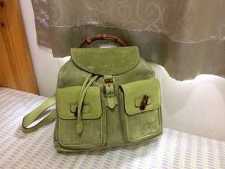 Gucci vintage bamboo backpack 復古麂皮拼牛皮背囊