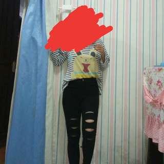 Ripped Skinny Pants Black Tembus