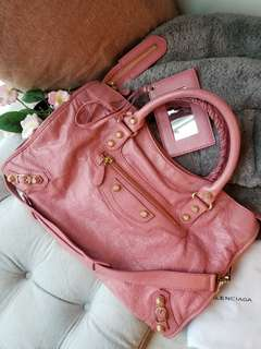 Balenciaga giant 12 city Bag rose pink with gold