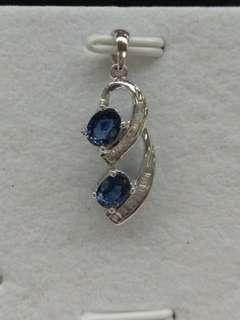 18K White Gold Sapphires with Diamonds Pendant