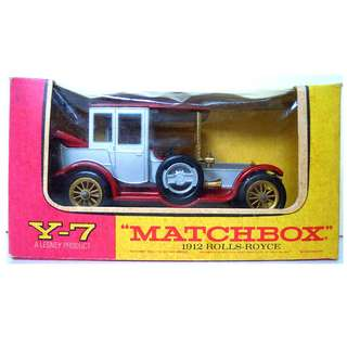 Lesney's Matchbox Y-7 1912 Rolls Royce (Models of Yesteryear Series)  * Original Super Vintage Set - Released in 1968 * Excellent Condition by Vintage Standards  (Diecast Vintage Car Collectible)